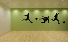 Soccer Players Vinyl Wall Decal Sticker Graphic Made from 10 year high quality vinyl which leaves no residue upon removal. As shown this decal measures 44 x 112 inches, but you can position these any Soccer Bedroom, Football Bedroom, Boys Bedroom Decor, Bedroom Themes, Soccer Room Decor, Boy Bedrooms, Personalized Wall Decals, Soccer Theme, Room Planning