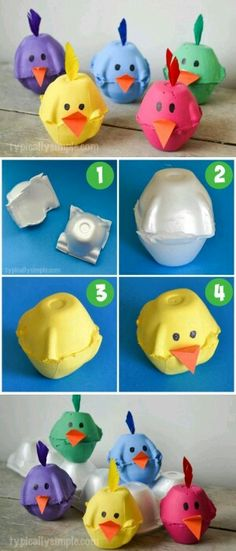 "DIY Spring Chicks Egg Carton Craft from ""Typically Simple"" DIY Spring Chicks Egg Carton Craft If you really like arts and crafts you really will appreciate our info! Easter Crafts For Kids, Toddler Crafts, Preschool Crafts, Diy For Kids, Fun Crafts, Arts And Crafts, Simple Crafts, Creative Crafts, Stick Crafts"