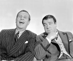 Bud Abbott laughing and Lou Costello with hand on chin sit together in a scene from the film 'Bud Abbott And Lou Costello In Hollywood' 1945 Hollywood Actor, Classic Hollywood, Happy Birthday William, Missed In History, Bud Abbott, Whos On First, Billy Crystal, Comedy Duos, Great Comedies