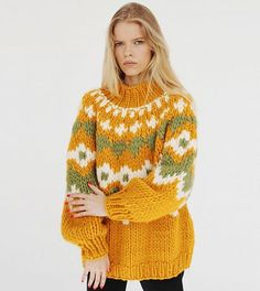 Knitwear Fashion, Sweater Fashion, Crochet Motifs, Knit Crochet, Knitting Designs, Knitting Patterns Free, Make Your Own Dress, Knit Picks, Casual Sweaters