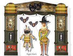 Halloween gothic Theater Collage Blatt DIY shadowbox oder Puppentheater basteln supply