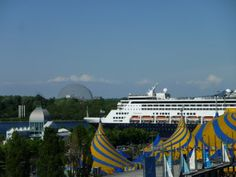Old Port Montreal Cirque du Soleil tents with cruise ship in the background
