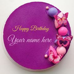 Purple Birthday Cake With Name Editing Option.Cake For Birthday Wishes.Awesome Cake With Custom Name.Editable Cake Pics With Name.Fondant Cake With Butterfly Red Birthday Cakes, Baby Girl Birthday Cake, Butterfly Birthday Cakes, Baby Girl Cakes, Purple Birthday, Butterfly Cakes, Birthday Cupcakes, Birthday Wishes With Name, Birthday Wishes Cake