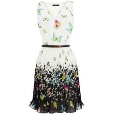 OASIS Pleated Butterfly Dress (205 MXN) ❤ liked on Polyvore featuring dresses, butterflies, vestidos, print dress, sleeveless dress, butterfly dress, pattern dress and monarch butterfly dress