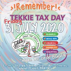 REMEMBER! Tekkie Tax Day 2020 has been moved to Friday, 31 July 2020! Order your Tekkie Tax merchandise and have it delivered to your door(T's & C's Apply). Your donations will help us help the most vulnerable people and animals! Order online at: www.tekkietax.co.za  #tekkietax #makethecirclebigger #takehands #lovingtekkies #VirtualHug #1000000Hugs