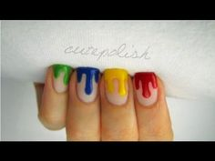 Dripping Paint Nail Art - go to cute polish on YouTube to check more of their nail designs!