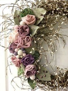 Grapevine Wreath with Burlap Roses