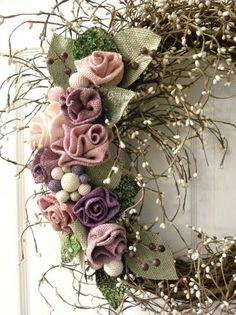 Grapevine Wreath with Burlap Roses