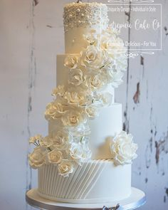 "24 Likes, 1 Comments - Centrepiece Cake Co (@centrepiececake) on Instagram: ""All white stunning wedding cake designed to complement the bridal gown #whitewedding…"""