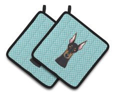 Checkerboard Blue Doberman Pair of Pot Holders BB1183PTHD