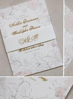 Gold Foil and Letterpress Wedding Invitations