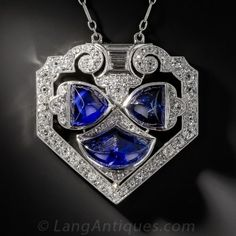 Art Deco Sapphire, Platinum and Diamond Necklace by Caroline C. ❦