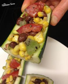 Black Bean and Corn Salad Zucchini Boats | Only 39 Calories/ Boat | Insanely delish Wine Vinaigrette | Fiber, Protein-Packed | For MORE RECIPES please SIGN UP for our FREE NEWSLETTER www.NutritionTwins.com