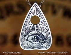 Ouija Planchette Necklace, Planchette Necklace with Etched All-Seeing Eye, Silver Planchette Pendant, Sterling Silver Oracle Pendant by ArgentumArcana on Etsy https://www.etsy.com/listing/240234947/ouija-planchette-necklace-planchette