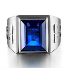 Men's 925 Silver Filled Big Emerald-cut Blue Sapphire CZ  Stone Ring Eternity Jewelry - V-Shop
