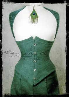Nymph Nouveau ribbon corset in linen viewed from the front. This was made both with a skirt and long wide legged trousers. By Anette Fredsdatter Heidal.
