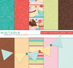 Sweet Cupcakes Paper Pack  INSTANT by WisteriaDesignStudio on Etsy
