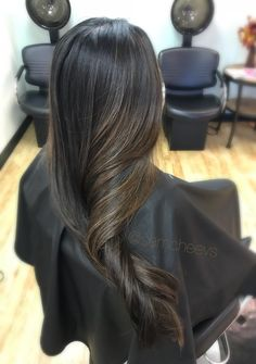 Jet Black hair with chocolate brown highlights 2017 fall ombré styles for natural black long thick hair color ideas / color for ethnic Indian Asian Hispanic hair types
