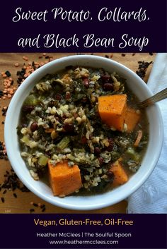 Sweet Potato Collards Black Bean Soup by Heather McClees at The Soulful Spoon