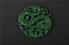 Vintage Chinese Old Manual Sculpture Delicate Jade Dragon Phoenix Jade Pendant