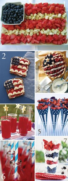 of July decorating and food ideas. Healthy Fourth of July ideas. These are healthy, last-minute patriotic snack ideas for Fourth of July you can still make to impress your family or bring to an Independence Day party. Holiday Treats, Holiday Parties, Holiday Fun, Holiday Recipes, Festive, Favorite Holiday, Summer Treats, Christmas Treats, Fourth Of July Food
