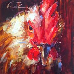 "Daily Paintworks - ""ORIGINAL CONTEMPORARY ROOSTER ..."" by Olga Wagner"