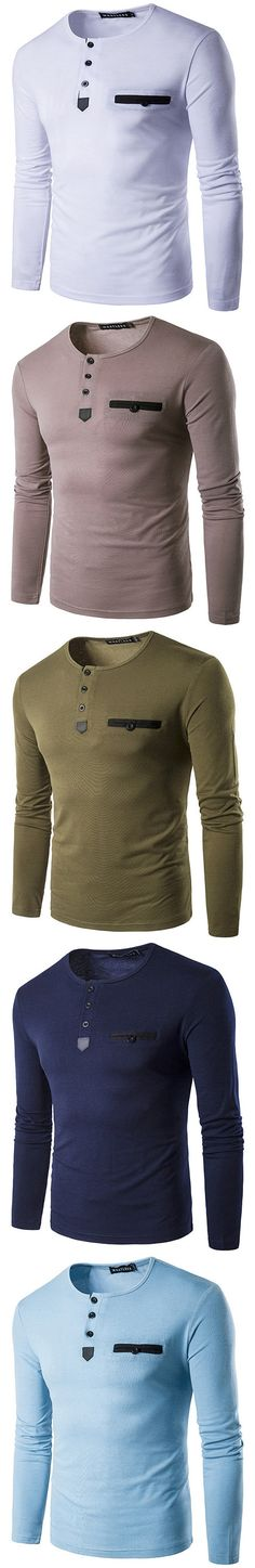 US$19.21 Mens Fashion Casual Contrast Color O-neck Buttons Long sleeve Comfortable Cotton T-shirts#tshirts #design #style #fall