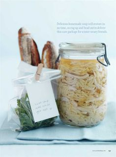 Homemade soup in a jar / donna hay. Beautiful presentation for giving away some soup.