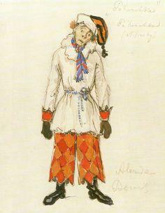 BENOIS, Alexandre. Desenho de figurino para a apresentação de Petruschka (Paris, 1911). Ballets Russes da Companhia Teatral S. P. Diaghilev (Paris, 1909-1929).