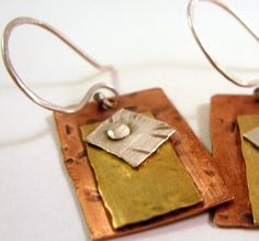 Riveted earrings in copper, brass and sterling by beadsoul Metal Clay Jewelry, Copper Jewelry, Beaded Jewelry, Handmade Jewelry, Beaded Earrings, Soldering Jewelry, African Jewelry, Jewelry Crafts, Jewelry Ideas
