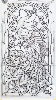 Glass Painting Patterns, Stained Glass Patterns Free, Glass Painting Designs, Paint Designs, Peacock Painting, Peacock Art, Peacock Colors, Peacock Feathers, Peacock Outline