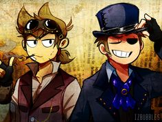 hi its been decades since ive been on here but have this sorta steampunk au right out of the blue (Tord's design by me, Tom's is by @chora-art)