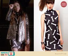 Aria's bone print dress on Pretty Little Liars. Outfit Details: http://wornontv.net/27477 #PLL #fashion