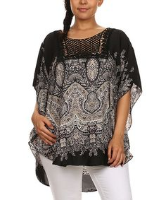 Another great find on #zulily! Black Paisley Embroidered Hi-Low Top - Plus by BellaBerry USA #zulilyfinds