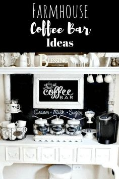 Farmhouse Coffee Bar Ideas For Homestead Kitchens Farmhouse coffee Bar Ideas, fun ideas to setup your coffee for guest or just farmhouse style diy decor. Rustic Kitchen, Kitchen Decor, Farmhouse Kitchens, Kitchen Ideas, Decorating Kitchen, Rustic Outdoor Decor, Coffee Bars In Kitchen, Family Kitchen, Farmhouse Style Decorating