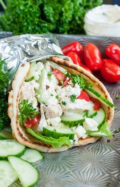 Easy Chicken Gyros with Feta Sauce. These quick and easy Chicken Gyros with Greek Feta Sauce are super versatile and great for a speedy lunch or a fuss-free weeknight dinner! Healthy Sandwich Recipes, Healthy Sandwiches, Lunch Recipes, Summer Recipes, Dinner Recipes, Cooking Recipes, Vegetarian Recipes, Smoothie Recipes, Crockpot Recipes