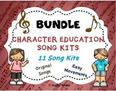 *** $15.00 for all 11 Song Kits ******KID FRIENDLY MP3 Vocal Tracks are included***This product is great for DISTANCE LEARNING as well as the elementary Music classroom!This K-5th Complete Character Education Song Kit BUNDLE includes 11 Song Kits:• Respect• Responsibility• Courage• Kindness• Self-Di...