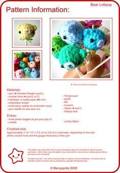 Bear Lollipop - free amigurumi crochet pattern