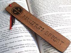 Marvel: Deadpool Inspired 'MAXIMUM EFFORT' Wood-Burned Bookmark by NightShadexDesigns on Etsy