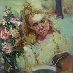 """Spring"" Kim Roberti's 6x6 Contemporary Realism Figure Portrait of a Young Reader., painting by artist Kim Roberti"