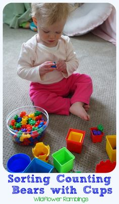 Easy baby play at home! Sorting counting bears with little ones! Toddler School, Toddler Play, Toddler Books, Baby Play, Toddler Crafts, Learning Colors, Kids Learning, Infant Activities, Preschool Activities
