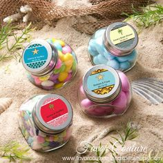 Having fun in Sun and Sand is never complete without some whimsical beach wedding favors.Personalized Glass Candy Jar Favors with beach theme. #personalizedfavors #wedding #favors #beach #summer #party http://favorcouture.theaspenshops.com/category/personalized-favors.html