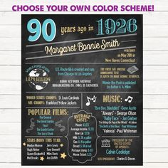 90th Birthday Poster. 90th Anniversary Poster. Chalkboard Poster. Born in 1926. 90 Years Ago. 90th Birthday Gift.