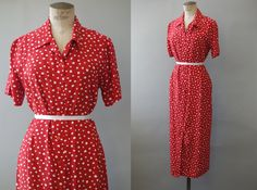 Fire Jane dress   Red viscose shirt dress with white dots   1990's by cubevintage   medium to large