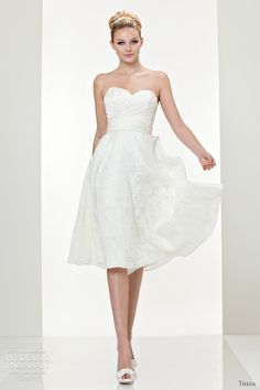 Theia Strapless Organza Cocktail Dress in White | Lyst