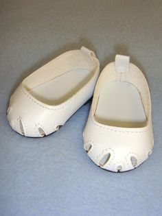 """2 3/4"""" White Toe Cut Flats, Footwear, Dolls, CR's Crafts - Largest Variety of Doll Supplies and Bear Supplies ANYWHERE!"""