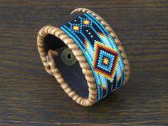 Native American Beaded Chevron Leather Bracelet 3