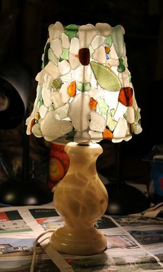 Last Christmas I revealed the homemade presents we had made, and, by . Sea Glass Beach, Last Christmas, Pebble Art, Lampshades, Creative Inspiration, Painted Furniture, Glass Art, Projects To Try, Arts And Crafts