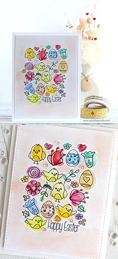 RejoicingCrafts: Easter card with Simon Says Stamp Springtime Critters and Hello Friend stamp sets. #simonsaysstamp #easter #watercolor