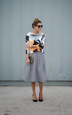 Modest Striped Midi Skirt